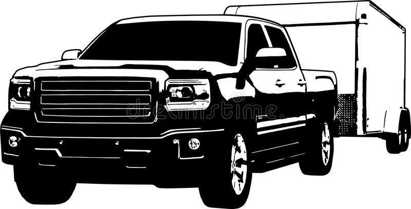 Pickup Truck Pulling An Enclosed Trailer Stock Vector ...