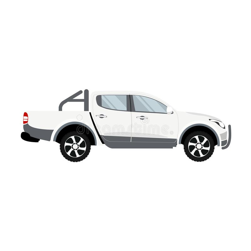 Pickup truck white color double cabin design vector. Vector design of white van with double cab bumper vector illustration