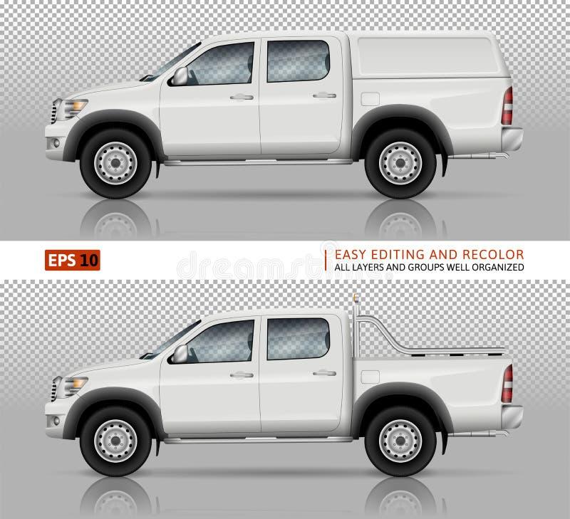 Pickupvektormodell stock illustrationer