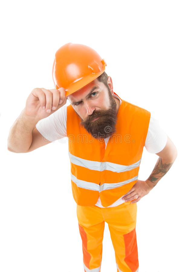 Picky inspector. Safety is main point. Man protective hard hat and uniform. Worker builder confident looking camera. Protective equipment concept. Builder royalty free stock photo