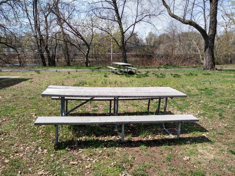Picnic Area in a Public Park, Rutherford, NJ, USA. Lovely picnic area, near the Passaic River, in Memorial Park, Rutherford, New Jersey, USA. This photo was stock photos