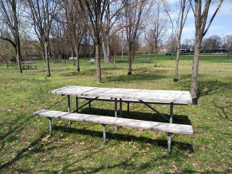 Picnic Area in a Public Park, Rutherford, NJ, USA. Lovely picnic area, near the Passaic River, in Memorial Park, Rutherford, New Jersey, USA. This photo was royalty free stock photos