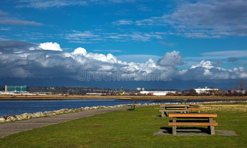 Picnic  Area an the River Bank. royalty free stock photo