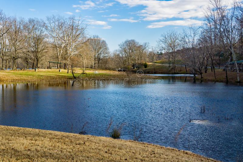 Picnic area at the Smith Mountain Hydroelectric Dam. Sandy Level, VA – January 8th:Picnic area at the Smith Mountain Hydroelectric Dam located, in Bedford stock image