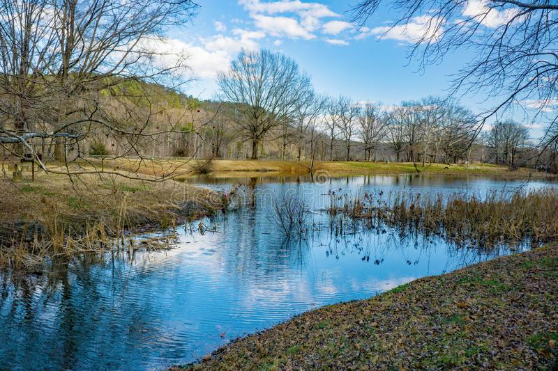 Picnic area at the Smith Mountain Hydroelectric Dam. Sandy Level, VA – January 8th:Picnic area at the Smith Mountain Hydroelectric Dam located, in Bedford royalty free stock images
