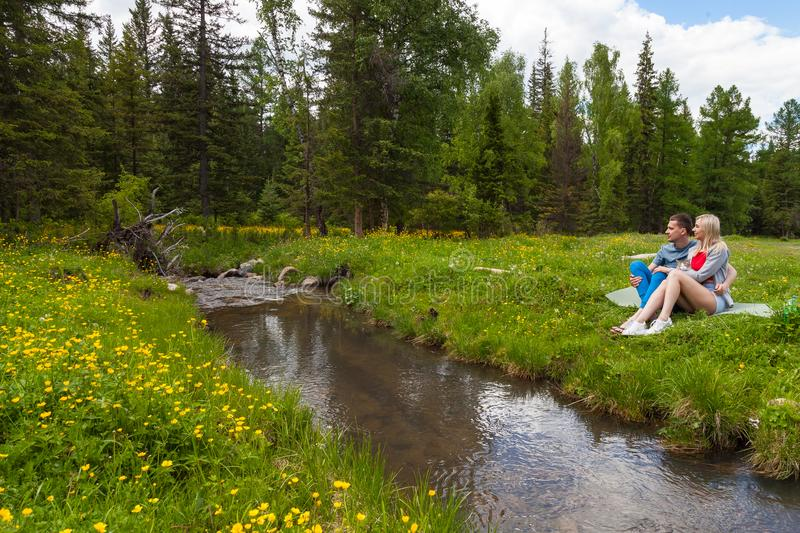 A picnic on the bank of a mountain river with green grass and yellow flowers against the background of coniferous trees and a blue royalty free stock photo