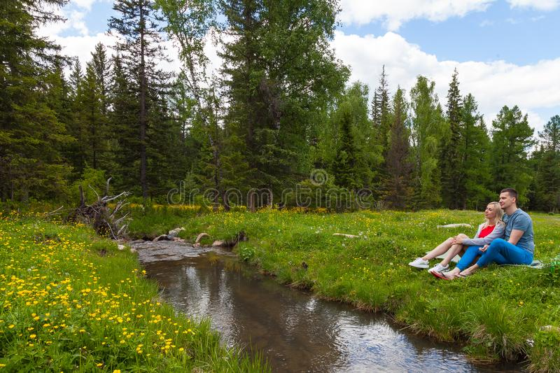 A picnic on the bank of a mountain river with green grass and yellow flowers against the background of coniferous trees and a blue stock image