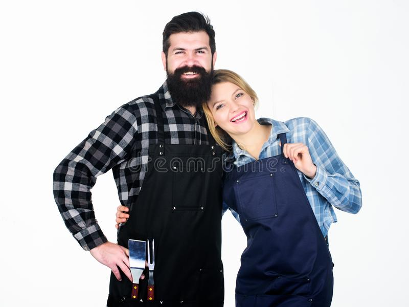 Picnic and barbecue. Backyard barbecue party. American food tradition. Cooking together. Couple in love getting ready. For barbecue. Man bearded guy and girl stock image