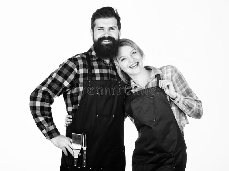Picnic and barbecue. Backyard barbecue party. American food tradition. Cooking together. Couple in love getting ready. For barbecue. Man bearded guy and girl stock photo