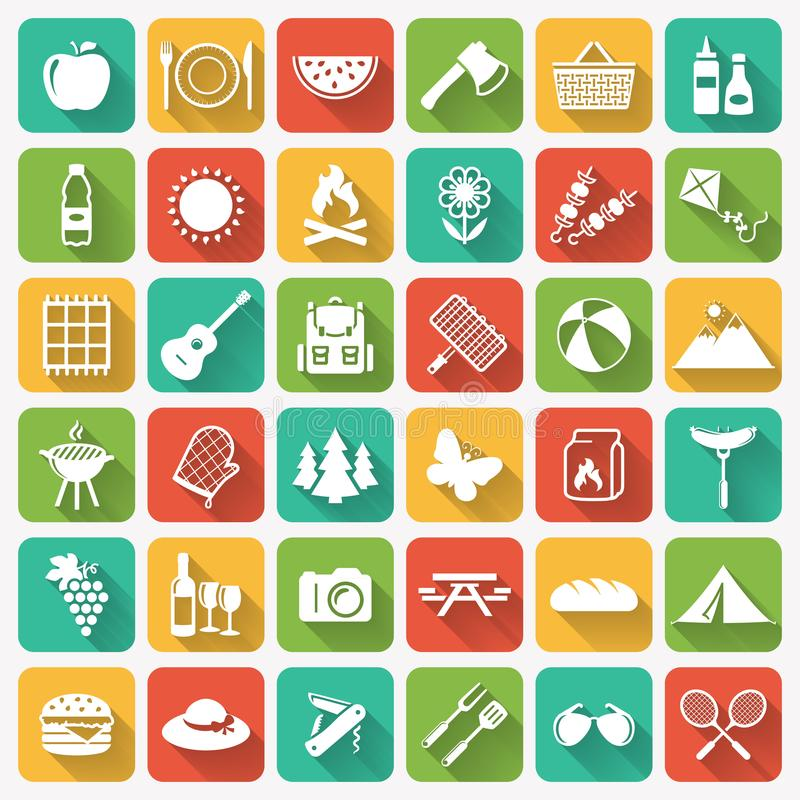 Picnic and barbecue flat icons on colorful square buttons. vector illustration
