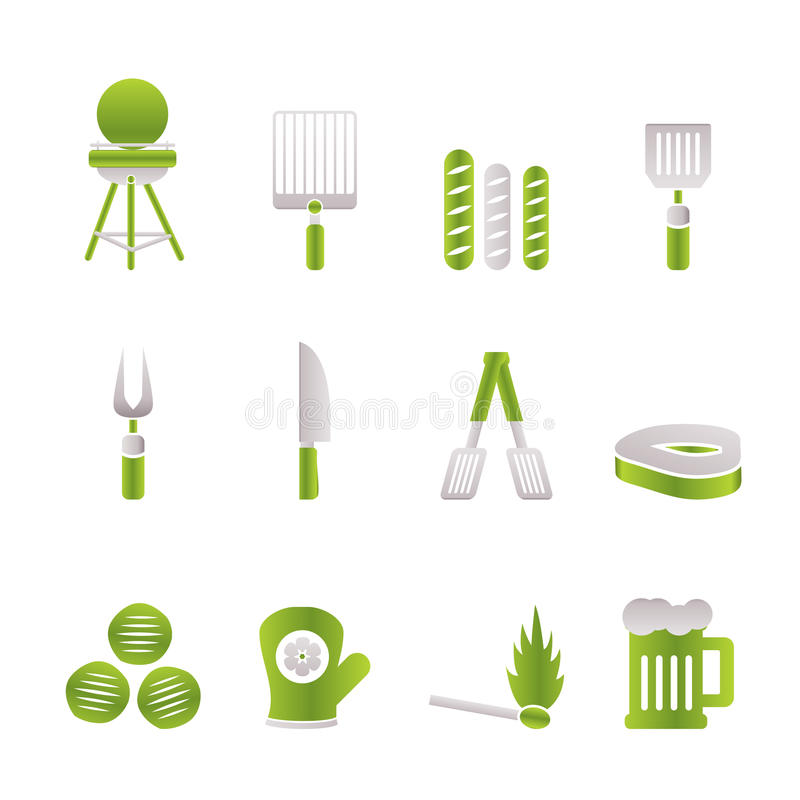 Download Picnic, Barbecue And Grill Icons Stock Vector - Image: 13824804