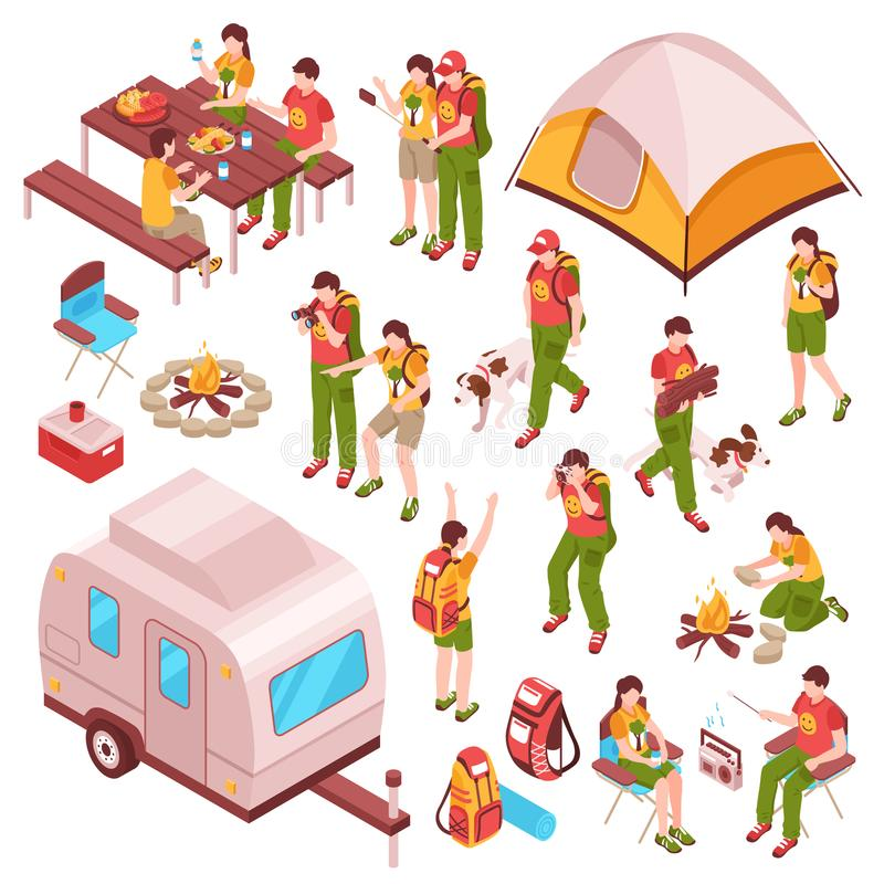 Picnic Barbecue Isometric Icons royalty free illustration