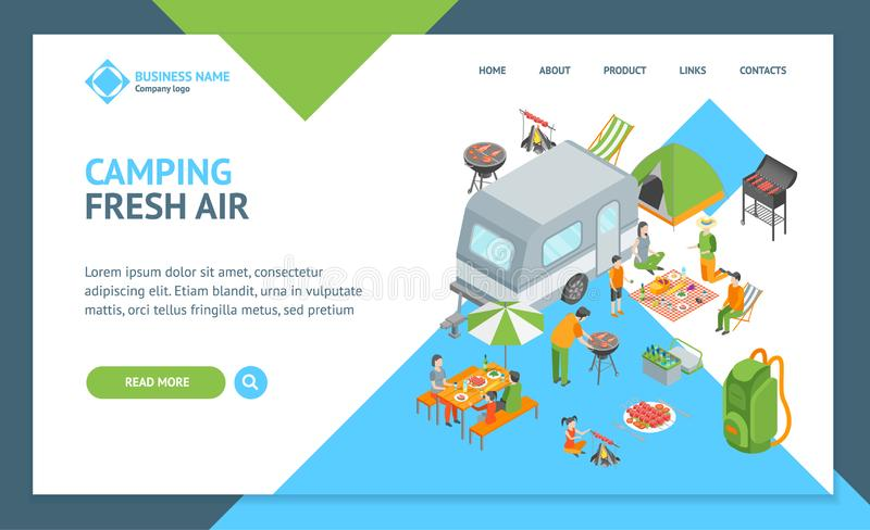 Picnic Barbecue Landing Web Page Template Isometric View. Vector. Picnic Barbecue Landing Web Page Template Isometric View Include of Grill, Meat and Sauce stock illustration