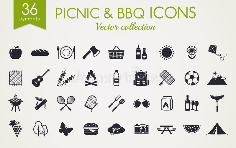 Picnic and barbecue vector icons. Picnic and barbecue web icons. Set of black symbols for a summer outdoor recreation theme. Vector collection of silhouette stock illustration