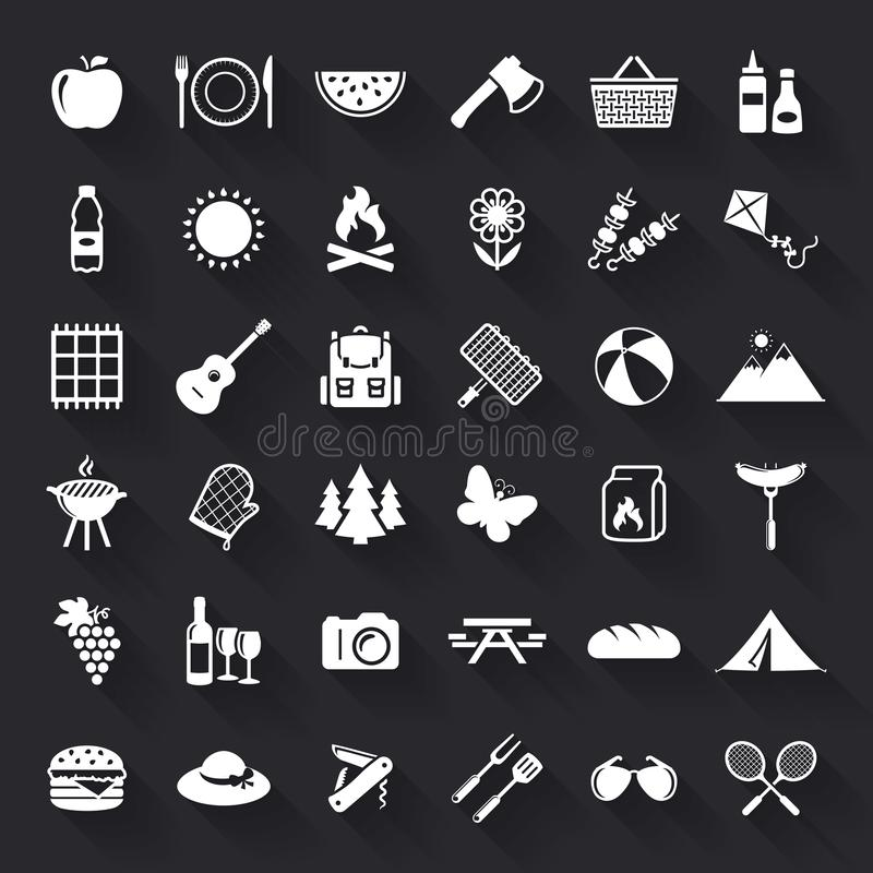 Picnic and barbecue flat icons. stock illustration