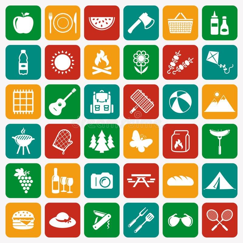 Picnic and barbecue white flat icons.Vector set. vector illustration