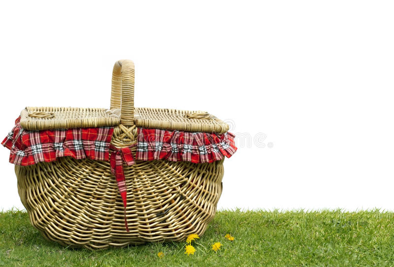 Picnic Basket. On green grass, over white background. Lots of copy space stock images