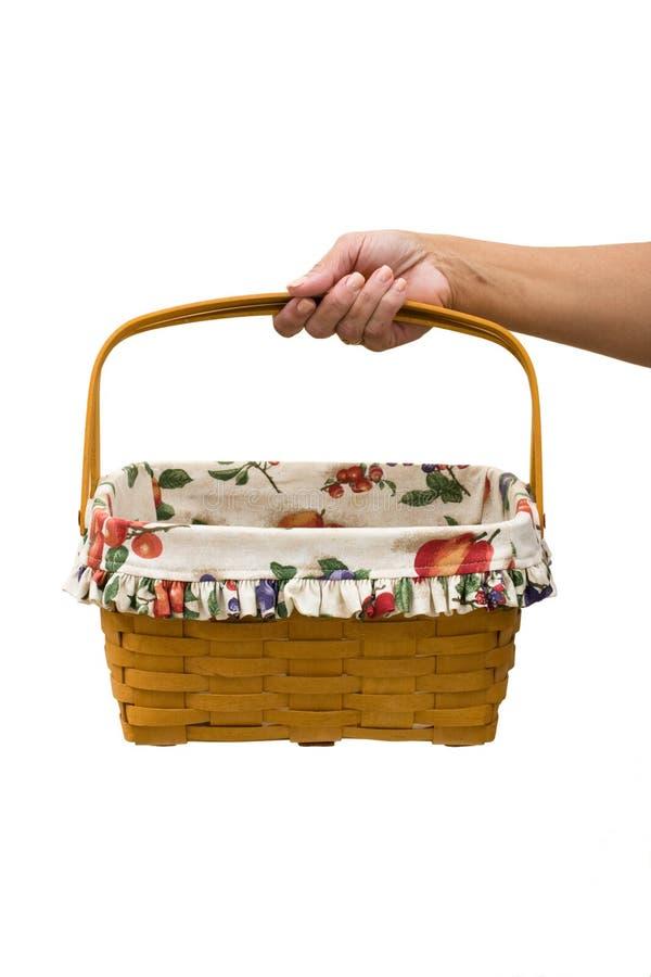 Picnic Basket. A hand holding a picnic basket on a white background, picnic basket stock photography