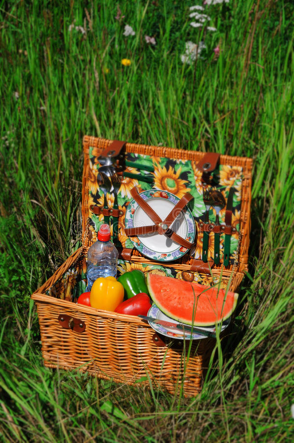 Download Picnic basket stock image. Image of leisure, plate, picknick - 25604647