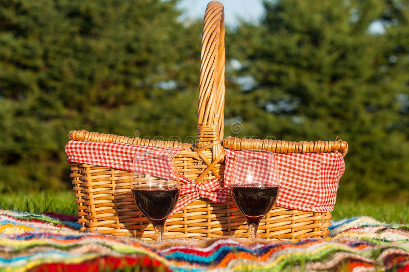 Download Picnic Basket stock photo. Image of glass, blanket, field - 27090718