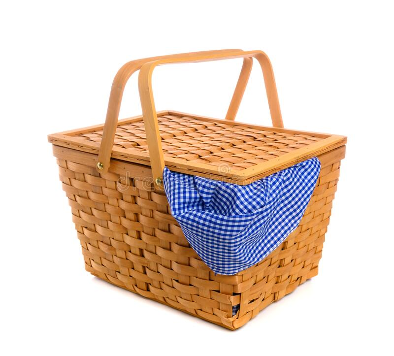 Picnic basket with blue gingham, checked cloth stock photos