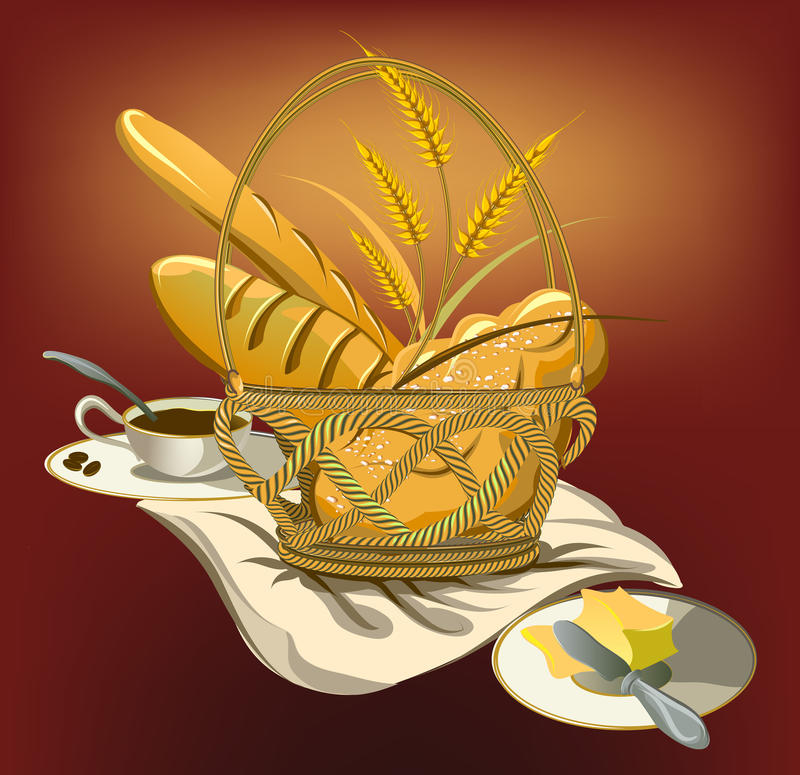 Picnic basket with bread and butter