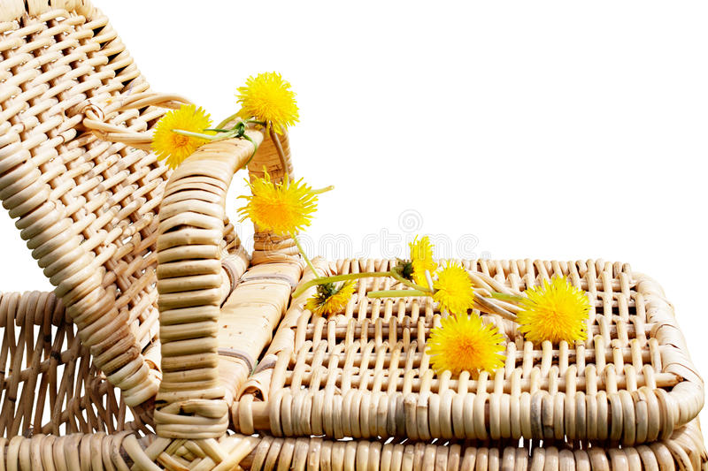 Download Picnic Basket With Dandelions Stock Image - Image: 23613961