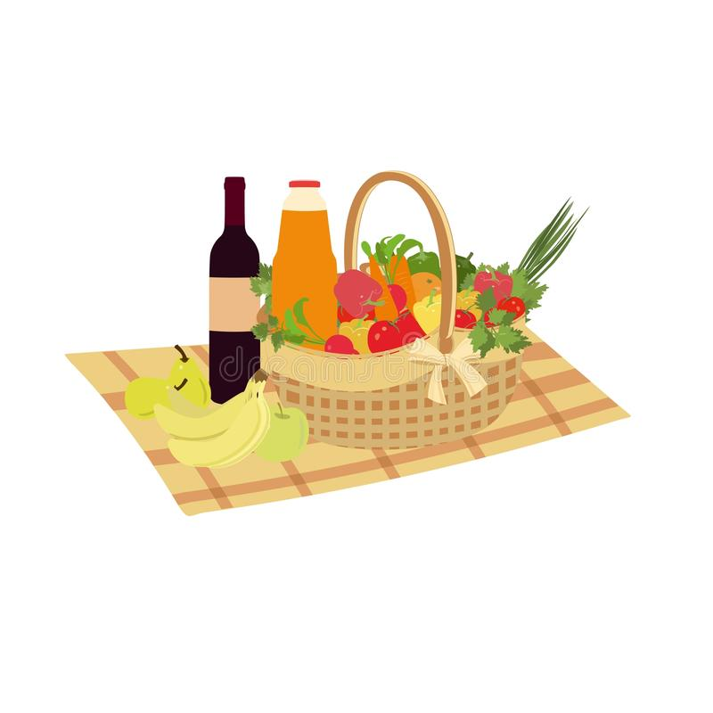 Picnic basket filled with food vegetables and fruits. Vector family picnic. Summer picnic, barbecue. Romantic dinner, lunch for lovers outdoors. Isolated stock illustration