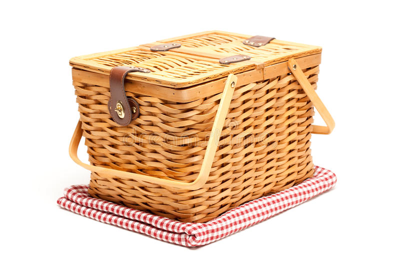 Download Picnic Basket And Folded Blanket Isolated Stock Image - Image of color, white: 12796829