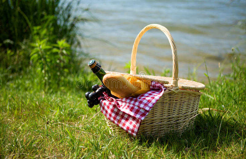 Download Picnic basket with food stock photo. Image of bottle - 14413310