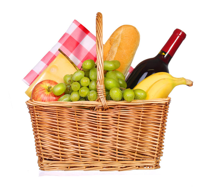 Picnic basket with food isolated. On white royalty free stock photos