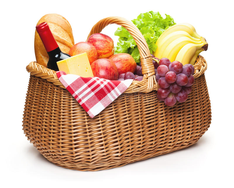 Picnic basket with food. Picnic basket with food, isolated on the white background, clipping path included stock photography