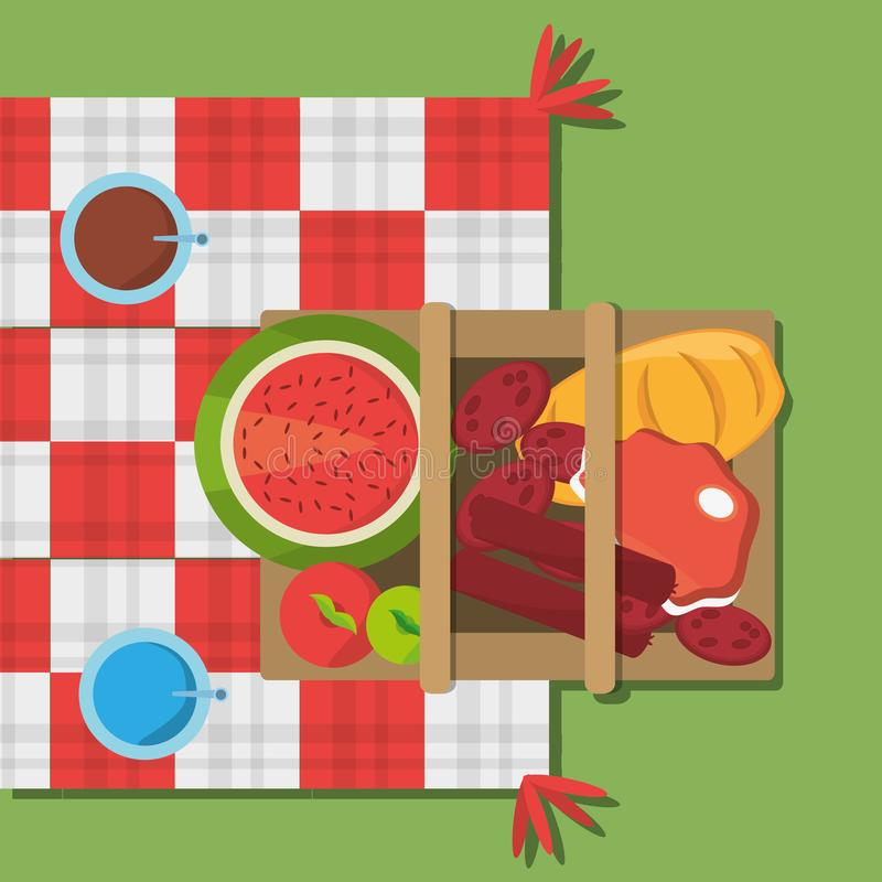 Free Picnic Basket Food Red And White Blanket Top View Stock Photography - 115408832