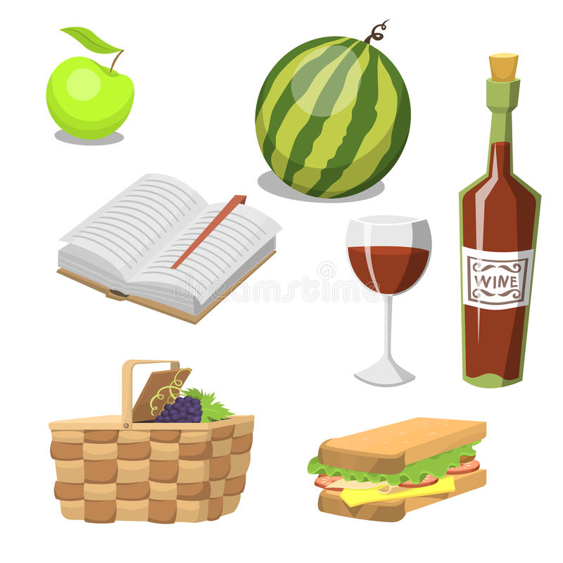Picnic basket with food relaxation vacation container lunch summer meal vector illustration stock illustration