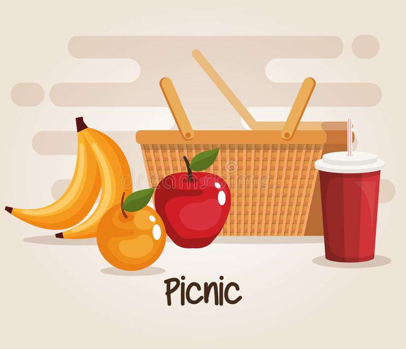 Picnic basket with food royalty free illustration