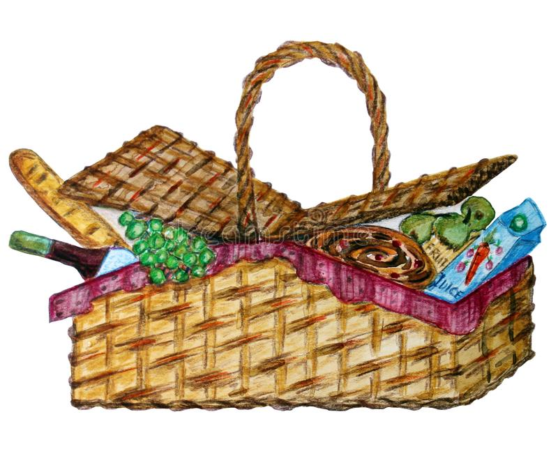 Picnic basket with food, wine and snack stock illustration