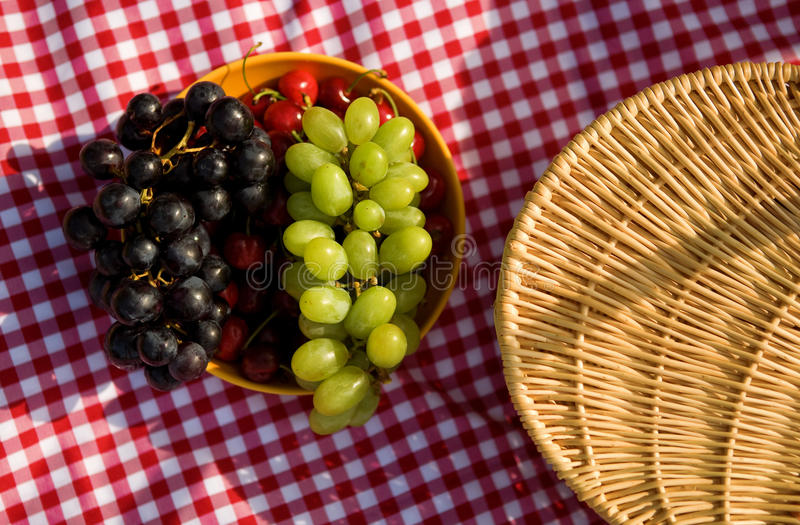 Download Picnic basket and fruits stock photo. Image of white - 14413374