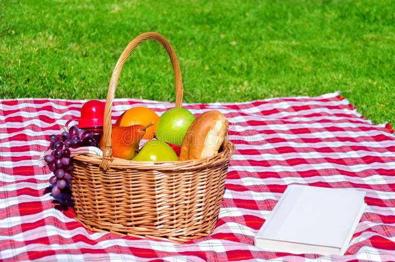 Picnic Basket With Fruits And Book Stock Image Image Of