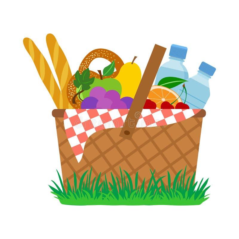 Picnic basket on grass. Vector. Illustration stock illustration