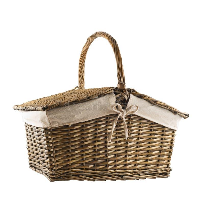 Picnic basket hamper isolated. Over white background stock images