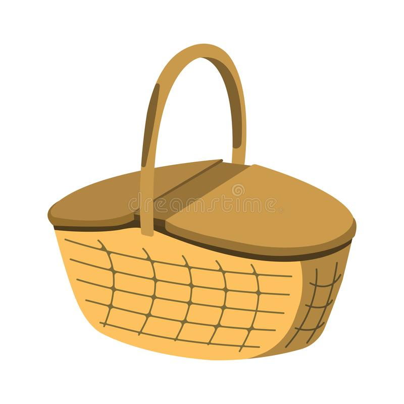 Picnic Basket icon. BBQ and Picnic label on white Background. C. Artoon style. Vector Illustration royalty free illustration