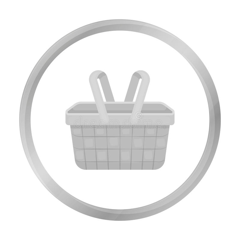 Picnic basket icon in monochrome style isolated on white background. Park symbol stock vector illustration. royalty free illustration