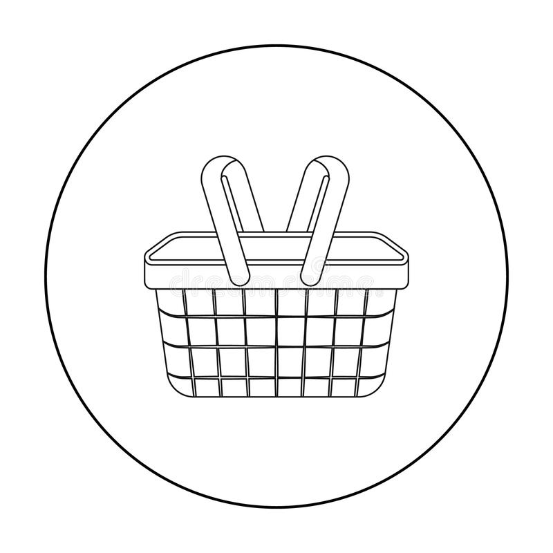 Picnic basket icon in outline style isolated on white background. Park symbol stock vector illustration. stock illustration