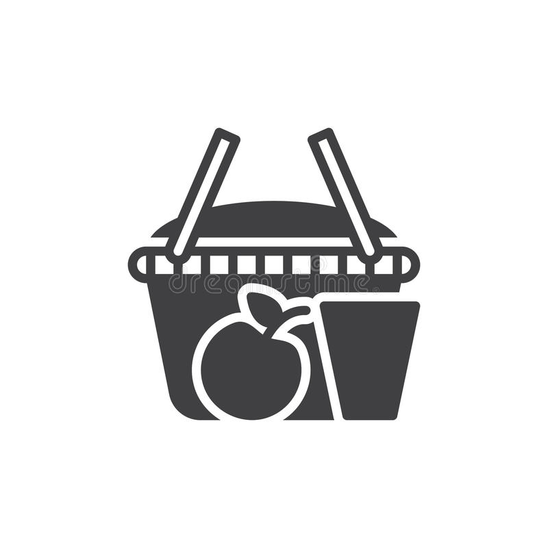 Picnic basket icon vector, filled flat sign. Solid pictogram isolated on white. Symbol, logo illustration. Pixel perfect graphics vector illustration