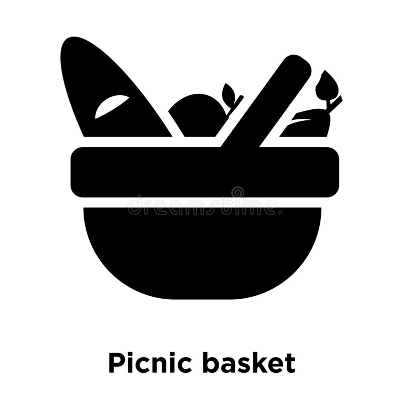 Picnic basket icon vector isolated on white background, logo con. Cept of Picnic basket sign on transparent background, filled black symbol vector illustration