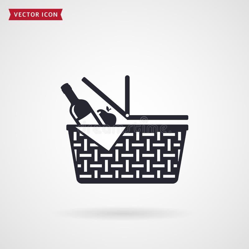 Picnic basket icon. Vector. stock illustration