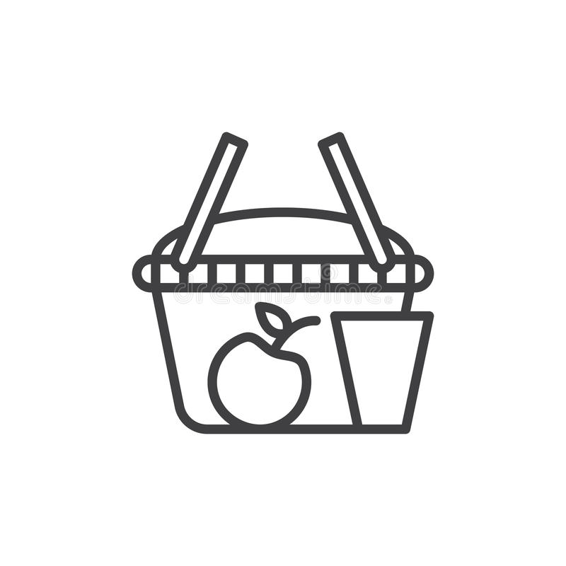 Picnic basket line icon, outline vector sign. Linear style pictogram isolated on white. Symbol, logo illustration. Editable stroke. Pixel perfect graphics royalty free illustration