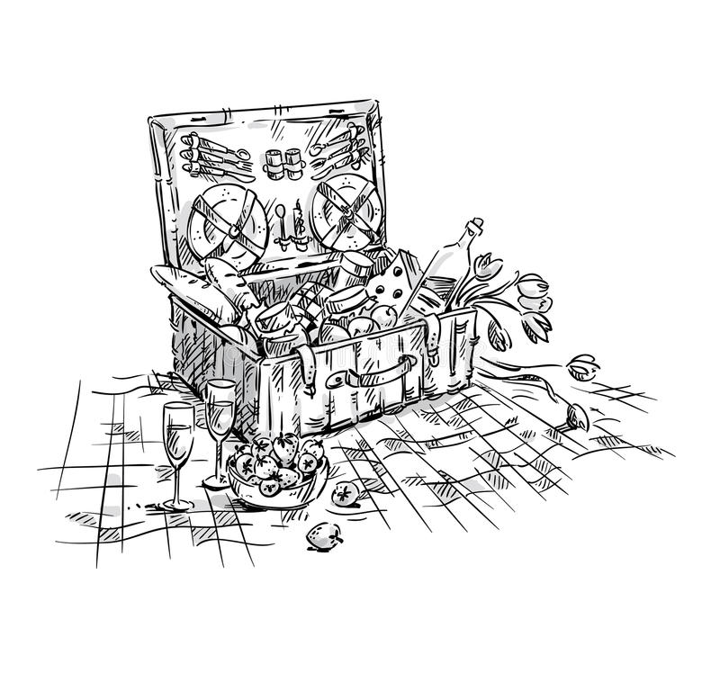Picnic basket, lunch on the grass stock illustration