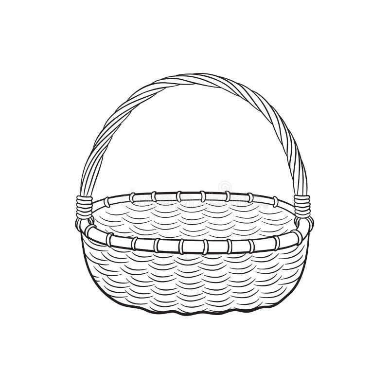 Picnic basket outline royalty free illustration