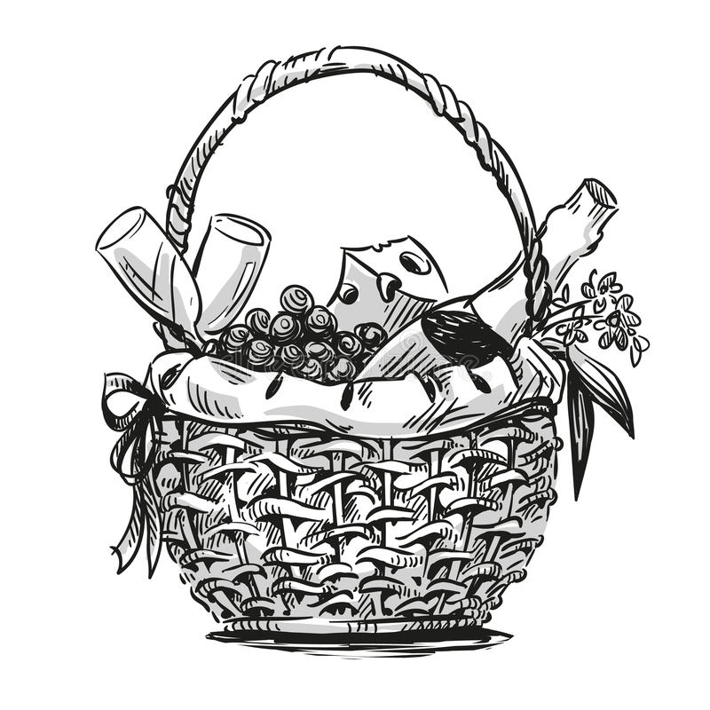 Picnic basket with snack royalty free illustration